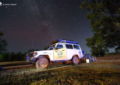 Our expedition vehicle parked under the milky way near the Wenlock River