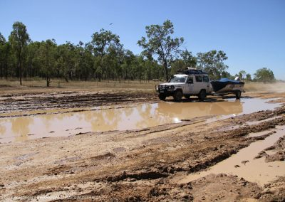 Some of our research sites are hard to reach, as roads are easily washed away. Here we were on our way to Kowanyama.